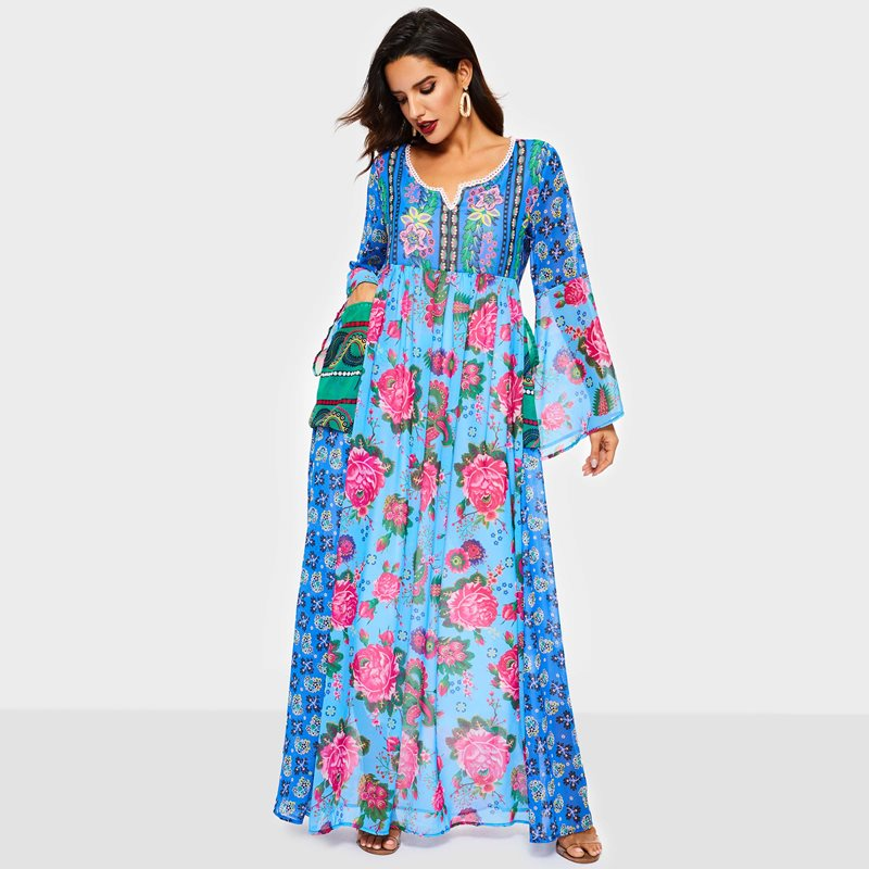 c7f3ba99485ae Vintacy Floral Print Long Dress Summer Women 2019 Fashion Boho Beach Loose  Long Sleeve Ladies Casual Holiday Swing Maxi Dresses