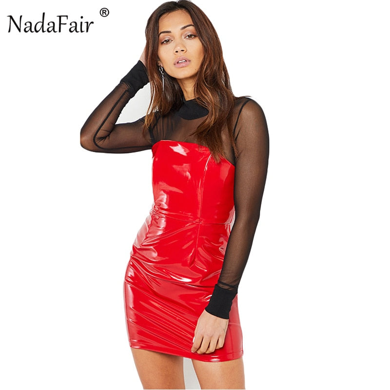 f25142a5b52 Off Shoulder Strapless Slash Neck Synthetic Leather Sexy Club Bodycon Dress  Red Black Mini Women Party