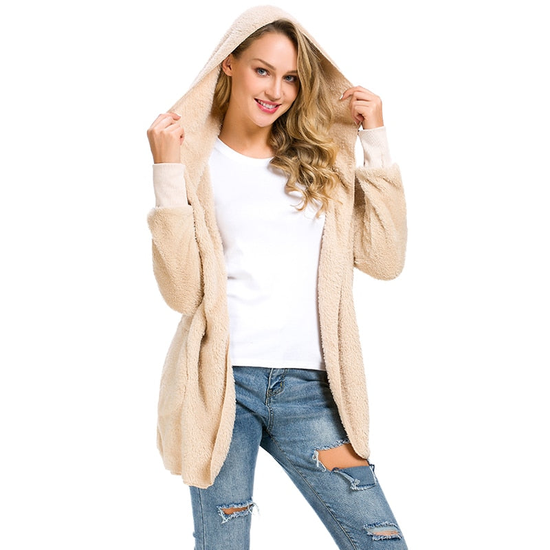 Nadafair faux fur hooded jacket coats women autumn slim solid faux shearling plush casual outwear female open stitch overcoat