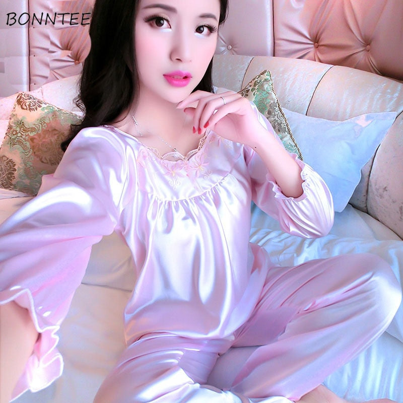 Pajama Sets Womens Thin Elegant Trendy Long Sleeve Loose Embroidered Printed Soft Women Pajamas Square Collar Leisure Breathable