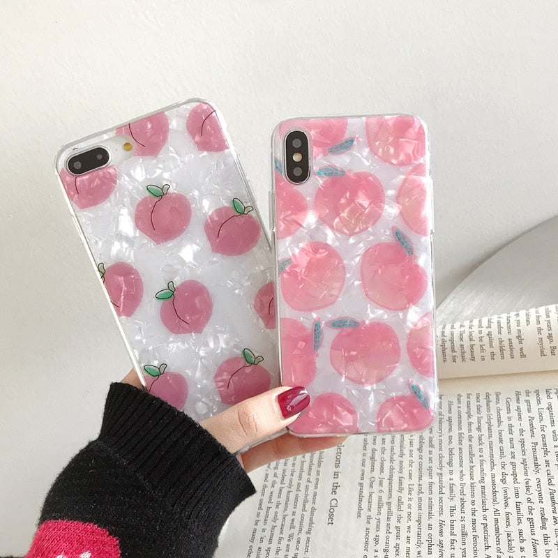 Fashion Conch shell Phone Case For iphone 6 6S 7 8 plus Case For iphone X XS XR XSMax Back Cover Cartoon Fruit Soft Cases Capa