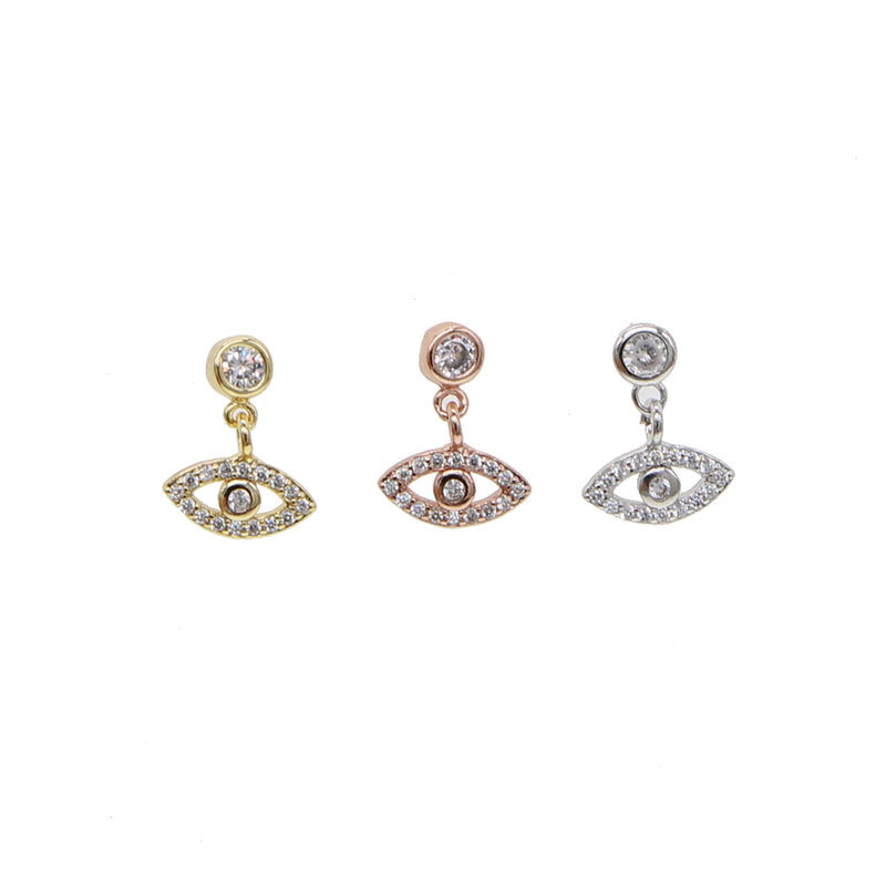2019 Gold silver color fashion jewelry lucky cute small eye charm turkish  evil eye paved CZ 925 sterling silver dangle earrings