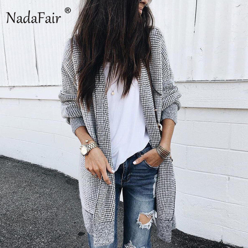 Nadafair 2018 new wool blends long coats women vintage plaid long jacket coats female autumn winter warm thick casual outwear