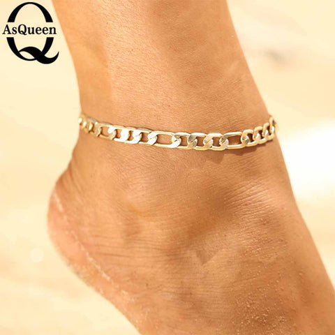 be038bbe3 Punk Glod Color Sequins Anklet for Women Fashion Neo-Gothic Link Chain  Anklets Feet Jewelry Leg bracelet Beach Accessories 2018