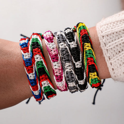 Tocona Friendship Bracelet Iridescent Braided Bracelet Women Men Cotton Rope Handmade Colorful Ethnic Bracelets Jewelry 6778