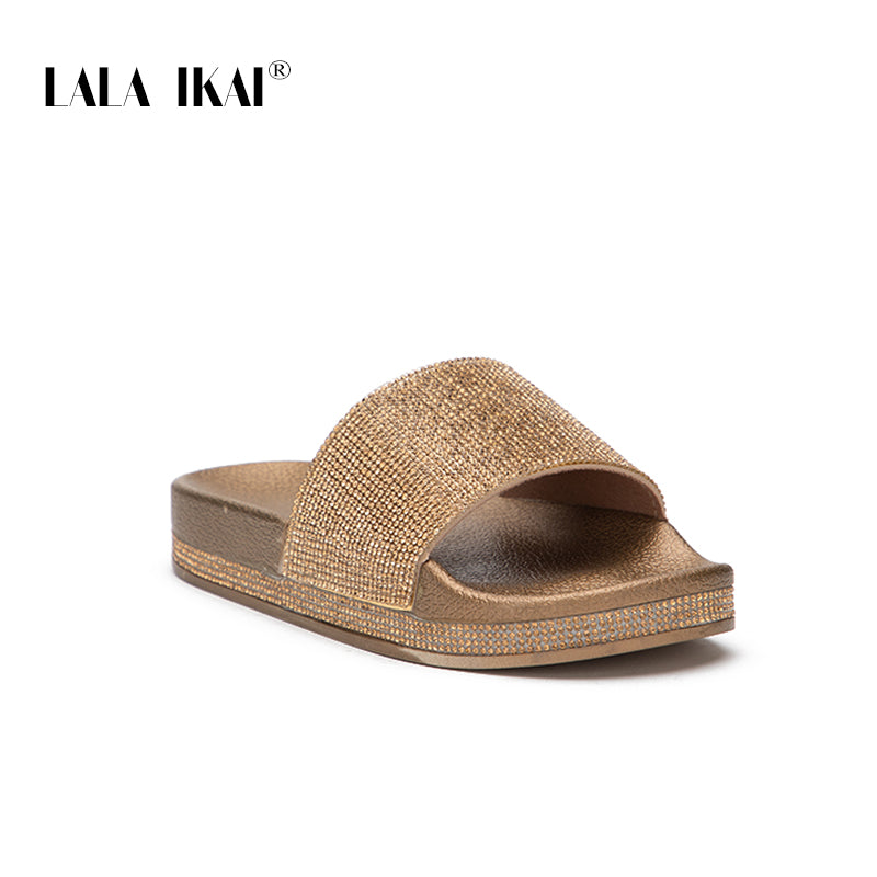 e7d34580f7 LALA IKAI Women PU Leather Rhinestone Slippers Bling Outdoor Summer Crystal  Ladies Slides 2018 Fashion Flat Shoes 014A2559 -4