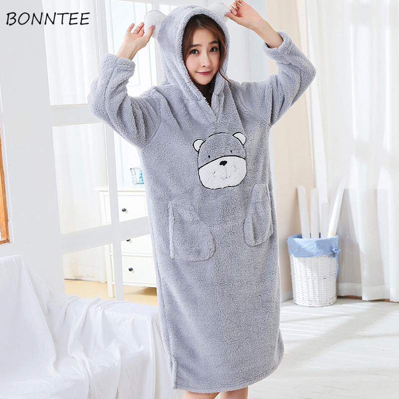 Nightgowns Warm Flannel Women Thicken Hooded Soft Nightdress Lovely Pockets Winter Sleepwear Cartoon Loose Kawaii Womens Leisure