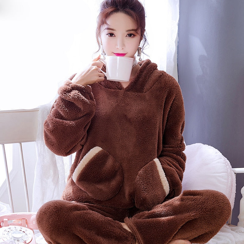 Pajama Sets Women Loose Soft Casual Home Clothing Students Pajamas Womens Korean Style Hooded Long Sleeves Thicker Sweet Pockets
