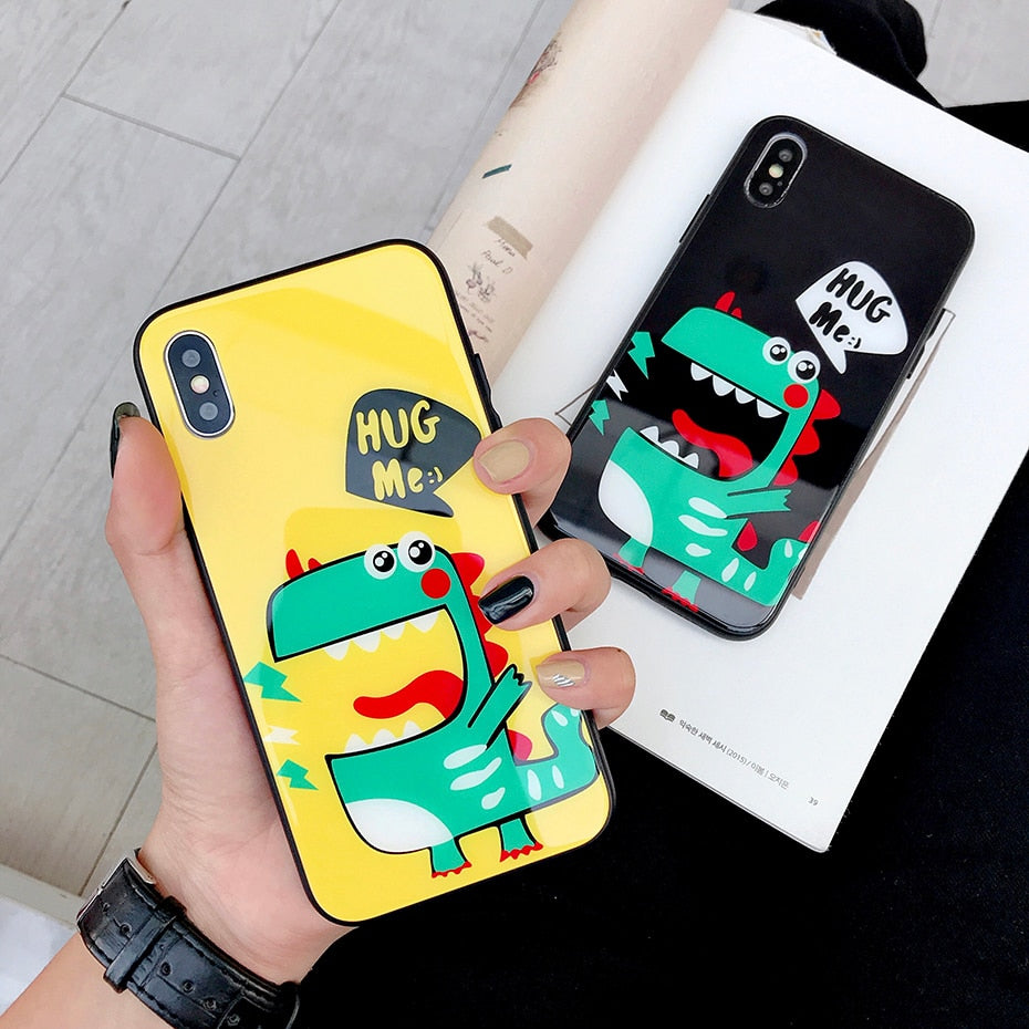 Beily Dinosaur Glass Case for iPhone XS Max XR X Cute Couple Glossy Tempered Glass Back Cover for iPhone 6 6S 7 8 Plus Funda