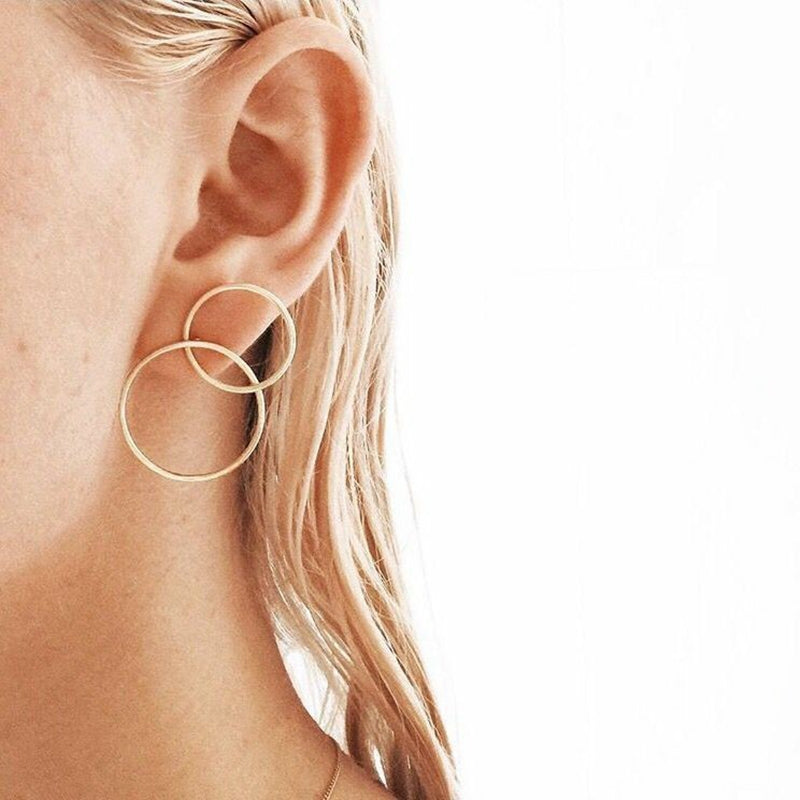 H:HYDE Minimalist Double Round Circles Crossed Stud Earrings Punk Style Gold Silver Color Metal Alloy Earrings For Women Party