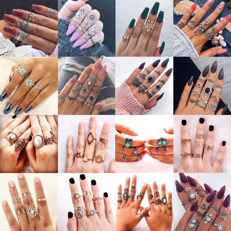 fe238662ef3a8 Vintage Knuckle Ring Set for Women Fashion Anel Aneis Bague Femme Crystal  Stone Silver Midi Finger Rings Boho Jewelry #281540
