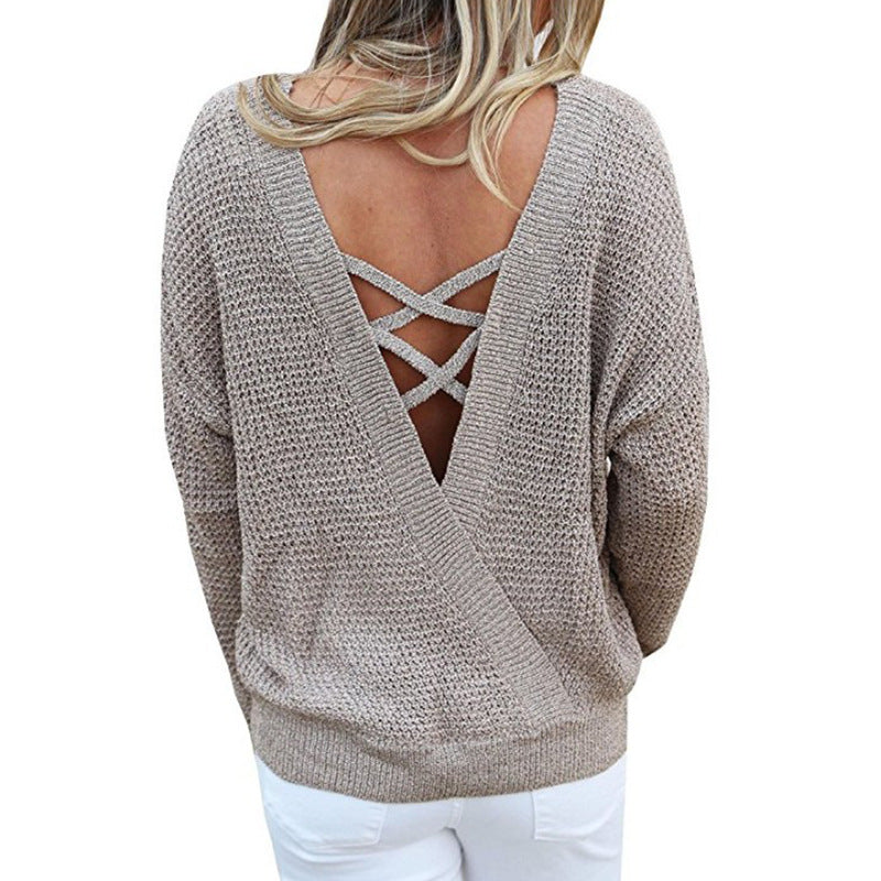 Knit Backless Women Sweaters Shirts Sexy Hollow Out Jumper Femme Bandage Pullover Tops Sweater Winter Long Sleeve Oversize GV081