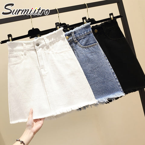 0c3f78bd35 Surmiitro Plus Size 5XL Mini Short Denim Skirt Women 2019 Spring Summer  Korean Black Blue White High Waist Big Skirt Female