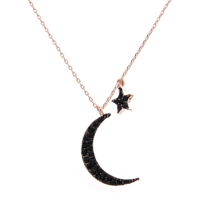 d7e7ce785d9e37 2019 New Initial Sideway Necklace Asymmetric Star Moon Necklace Korean  Fashion Tide Flow High Quality Jewelry