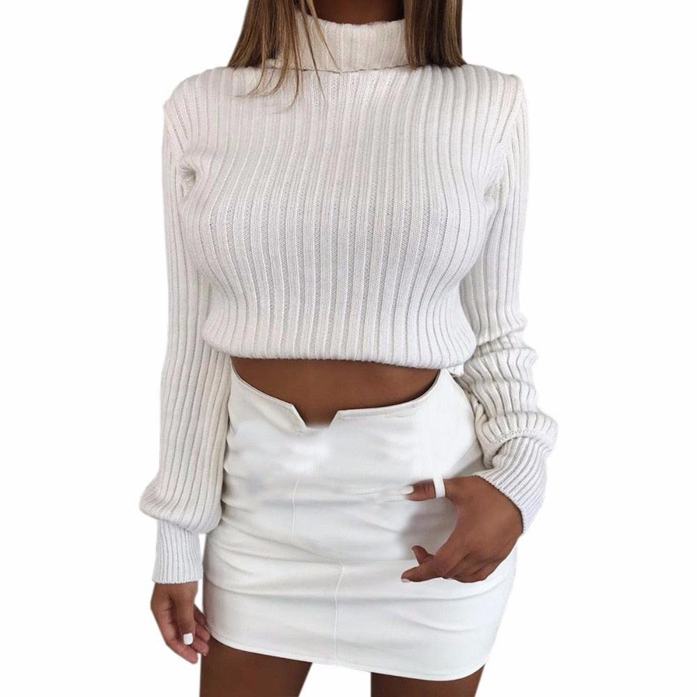 Skinny Sexy White Cropped Womens Sweaters 2018 Winter Harajuku Turtleneck Long Sleeve Sweaters Pullovers Tops Jumpers M0120