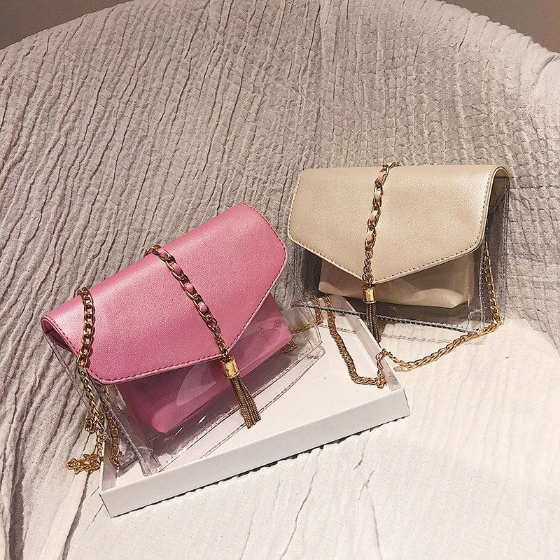 Women Transparent bag 2018 New handbag High quality PU Leather Sweet Girl Square bag Flower Pearl Chain Shoulder Messenger Bag