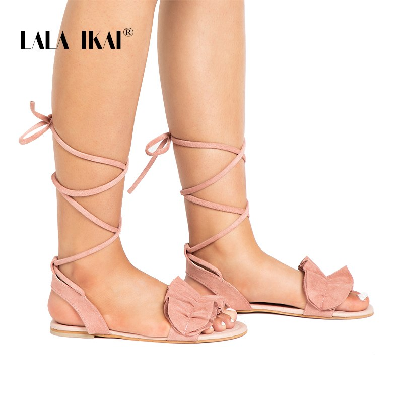 eecdfdcd0e4 LALA IKAI Bohemia Ankle Strap Flat Ruffle Sandals Shoes Lace Up Women  Flower Beach Sandals Shoes