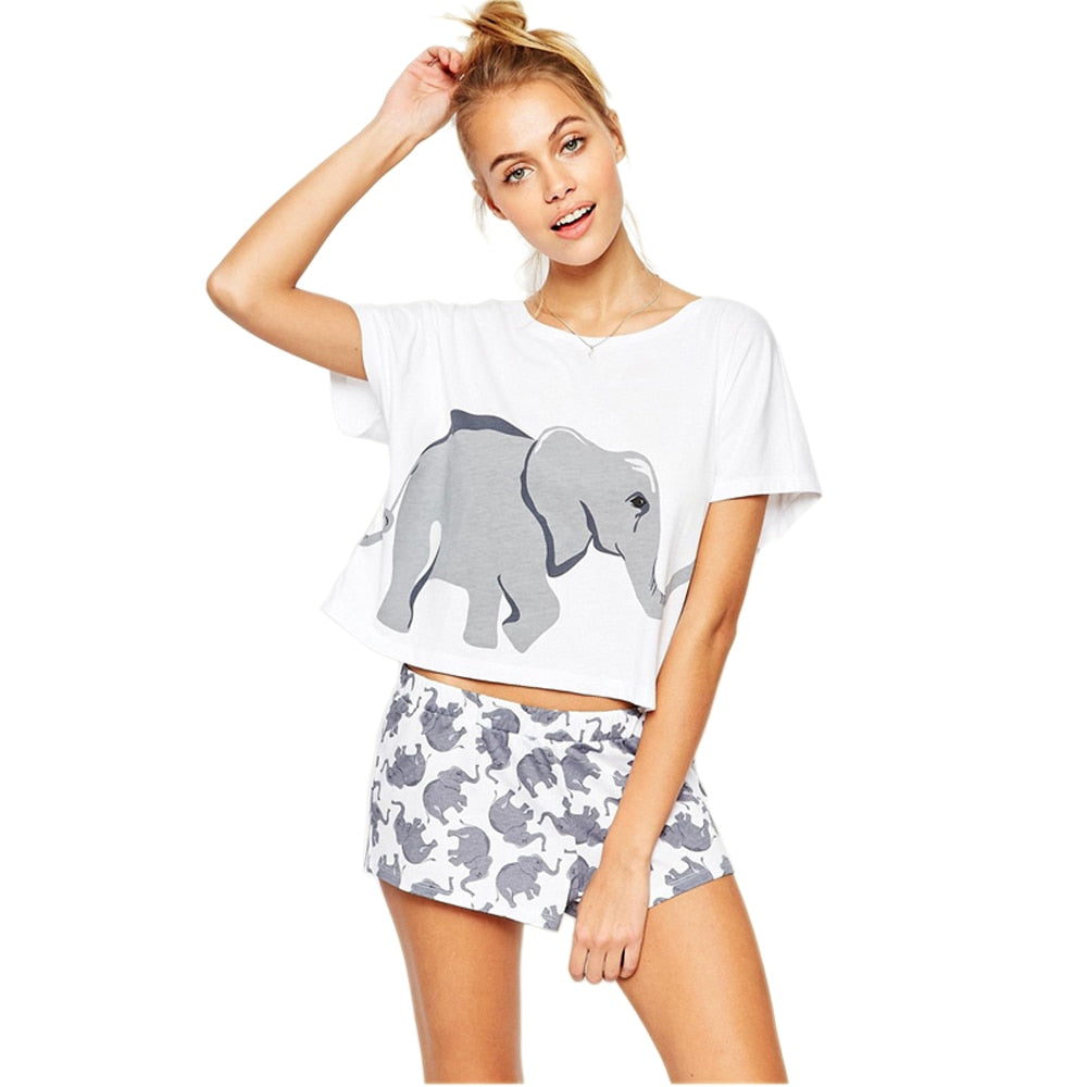 Sets Elephant Animal T Shirts Women Summer Graphic Funny Sexy Night Cute Crop Tops Shorts Nightwear Sleepwear Pajamas Teen Girls