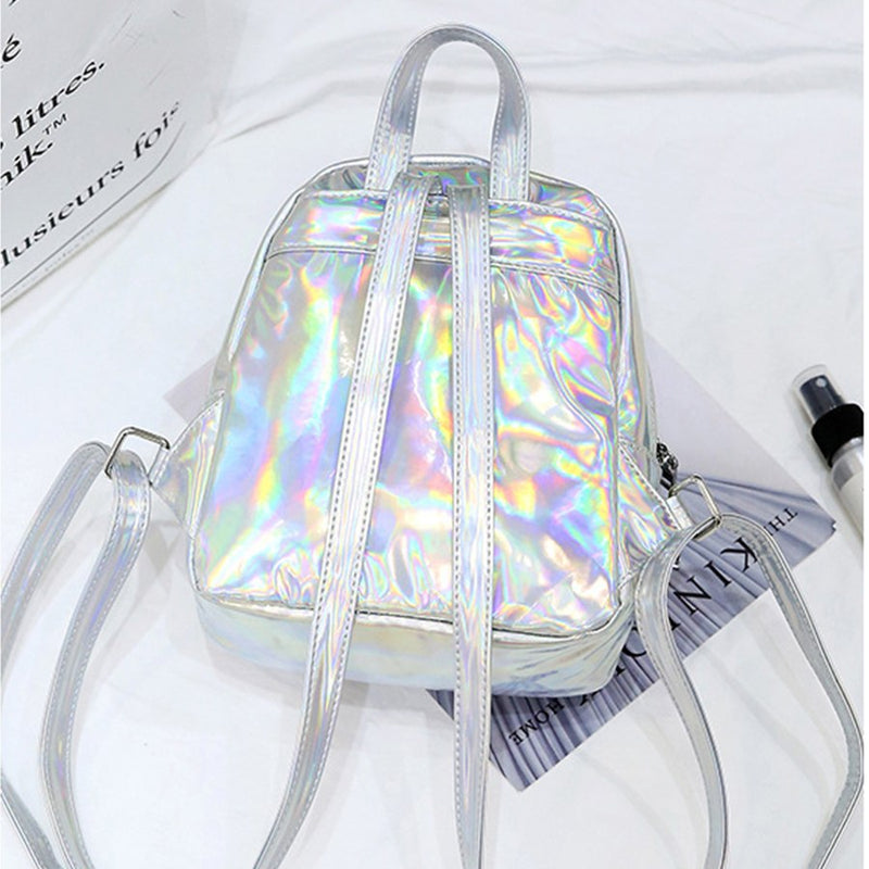 122ca393c712 Fashion Small Laser Backpacks Women Casual PU Leather School Bags for  Students Girls Waterproof Book Bag