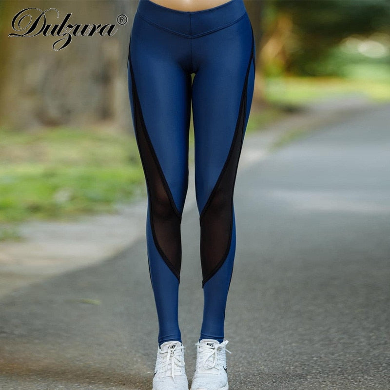 dcd0093b0de63 Dulzura mesh patchwork push up stripe leggins high waist fitness leggings  2018 autumn winter women sexy