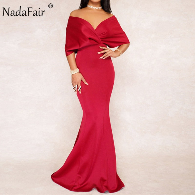 6448b6198d Nadafair v neck backless batwing sleeve trumpet sexy long dress women  elegant solid bodycon party maxi