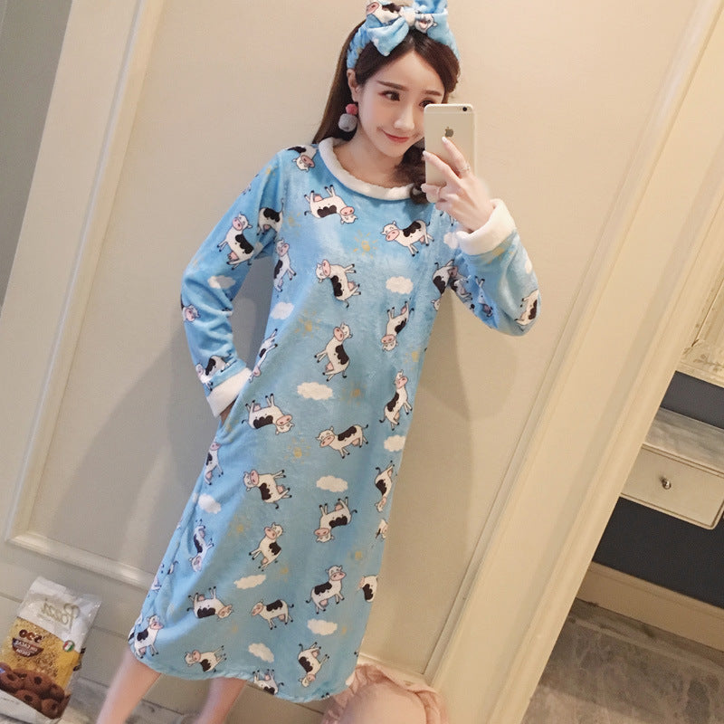 4945ae84c2 Nightgowns Winter Cartoon Printed Kawaii Women Warm Flannel Nightdress  Lovely Soft Long Sleeve Chic Womens Sleepwear