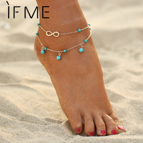 IF ME Fashion Bohemian Infinity Anklet Women Created Stones Beads Drops  Bracelet Pendant Barefoot Sandals Foot Chain Jewelry 9cc0de070809