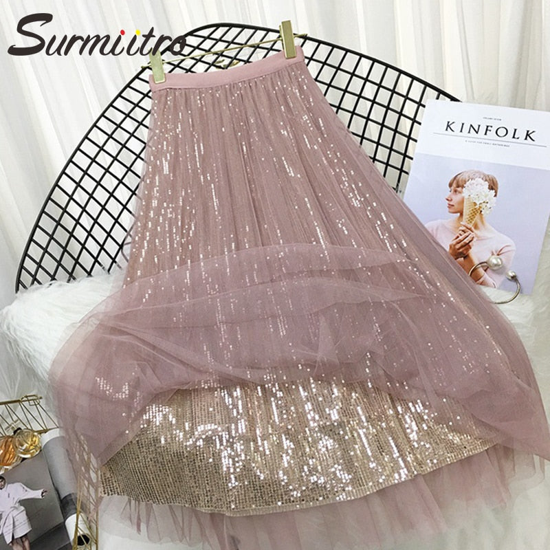 Surmiitro 3 Layers Sequin Tulle Long Skirt Women 2019 Spring Summer Fashion Mesh Korean High Waist Pleated School Skirt Female