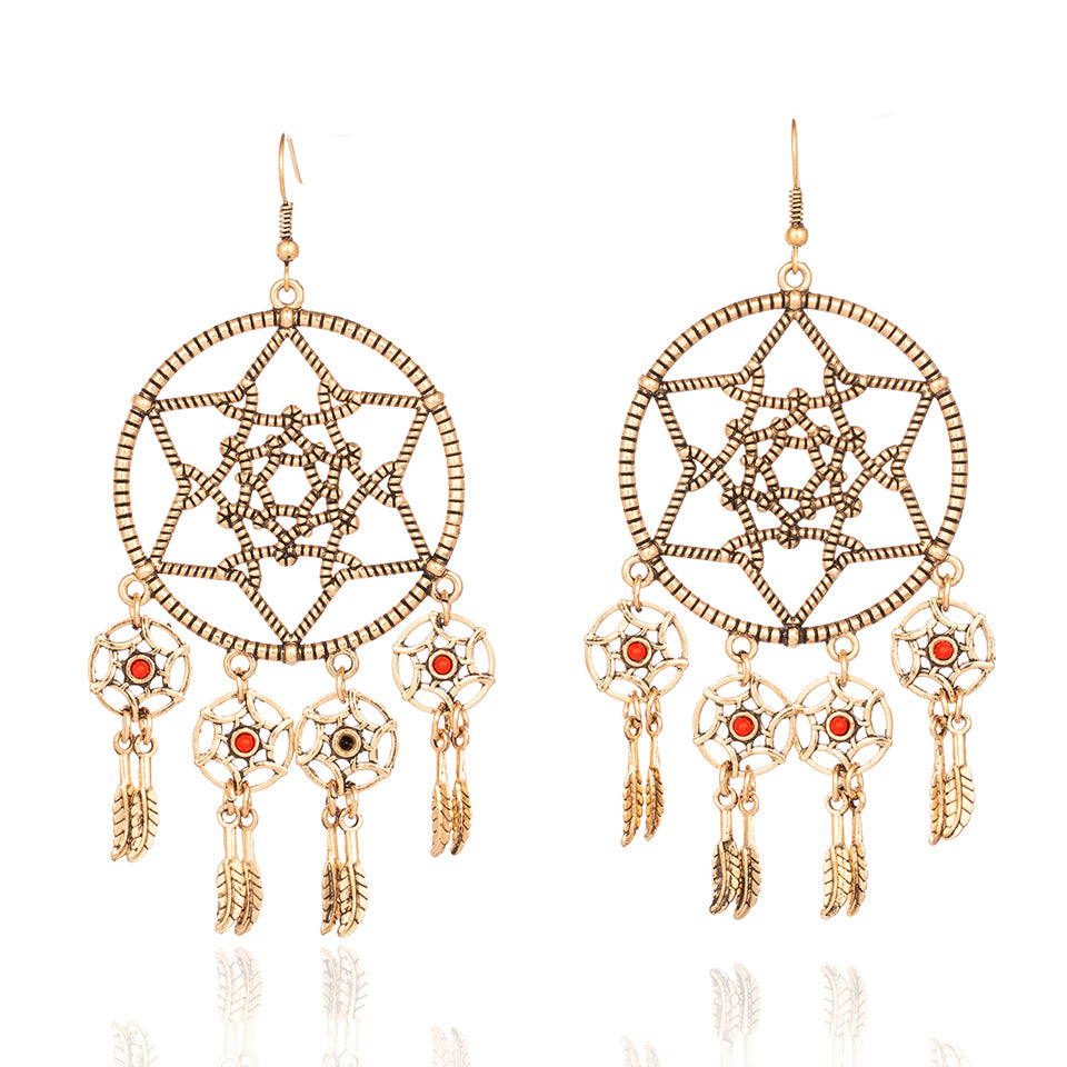 Luxury Golden Silver India Boho Ethnic Kaleidoscope Flower Round Dangle Drop Tassel Earrings for Women Female 2019 Jewelry Gifts