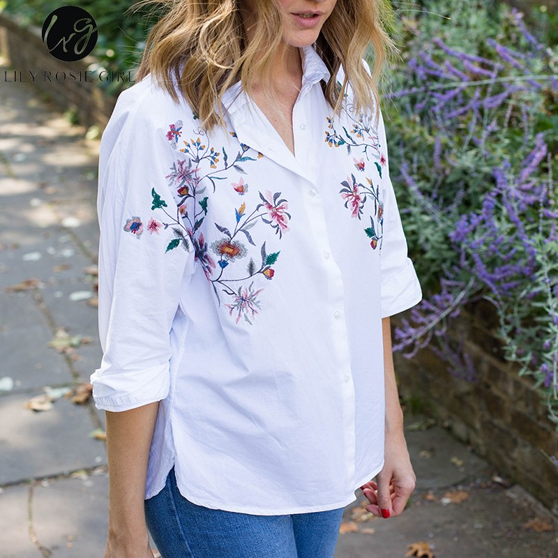 Women's Clothing 2019 Spring New Fashion Flowers Embroidery Shirt Woman V-neck Three Quarters Sleeve Blue Long Blouse Tops Blusas Chemise Femme