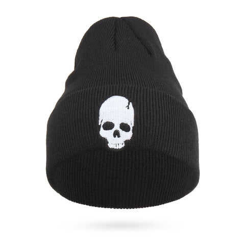 Cool Embroidery Skull Head Beanies For Men Winter Cap Women s Acrylic Black  Skiing Hat Stretch Hip-Hop Skullies Warm Hats Male 431e6099084e