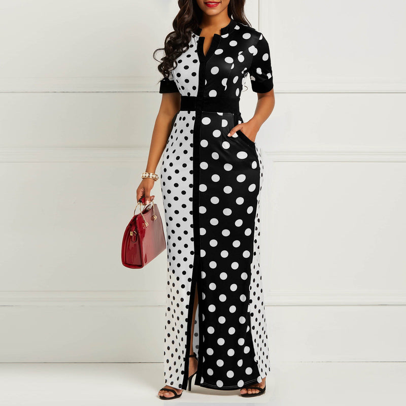 ff53ce07362 Vintage Bodycon Dress Women 2019 Fashion Black White Polka Dot Bandage  Split Skinny Office Lady Elegant