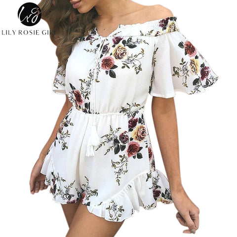 c4d7fda4d7cd Lily Rosie Girl Off Shoulder White Boho Floral Print Ruffles Playsuits Women  Sexy Summer Beach Jumpsuits Short Rompers Overalls
