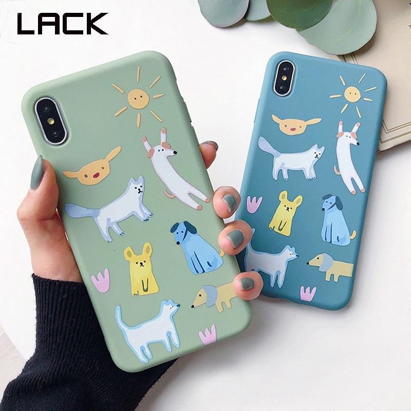c8eba9152f LACK Couple Cute Cartoon Animal Dog Cat Phone Case For iphone XR XS Max Case  For