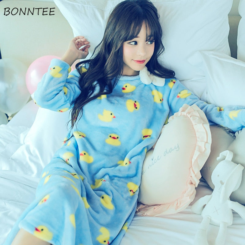 Nightgowns Women Winter Kawaii Sleepwear Flannel Nightdress Lovely Thicken Bow Cartoon Nightgown Womens Nightwear Trendy Warm