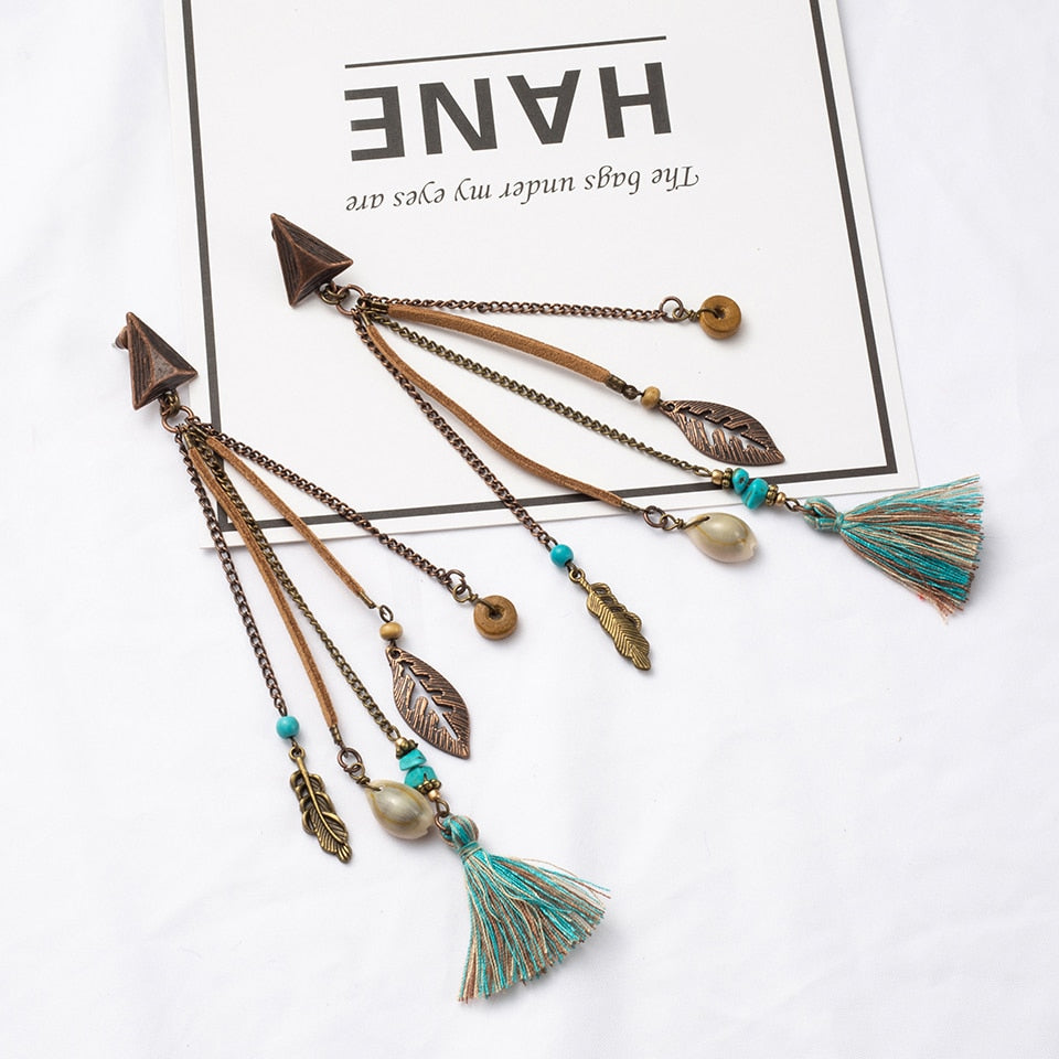 Antique Vintage Bohemian Ethnic Long Tassel Leaf Beads Shell Dangle Earrings for Women Fashion Boho Fringe Jewelry Accessories