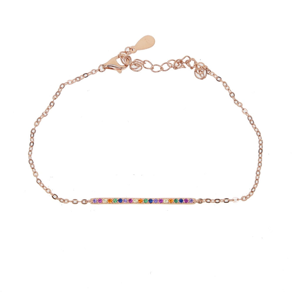 925 Sterling Silver Link Chain Rainbow Color Bracelet AAA CZ Colorful Round Crystal Flat Bar Charms Bracelet Jewelry for women