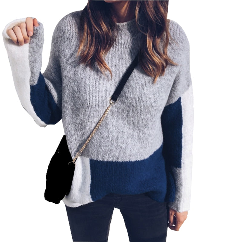 Winter Women Sweaters Color 2018 Matching Pullover Sweater Female Knitted O-Neck Patchwork Sweaters Plus Size Pull Mujer M0214
