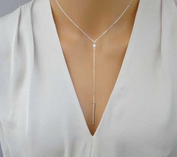promotion New 925 sterling silver shinny polished long bar cz lariat long chain women neckace