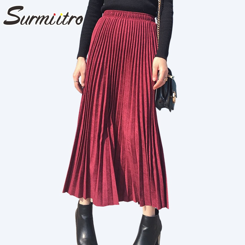 Surmiitro Suede Velvet Pleated Skirt Womens 2019 Autumn Winter Korean Elegant High Waist Long Skirt Female School Office Skirt