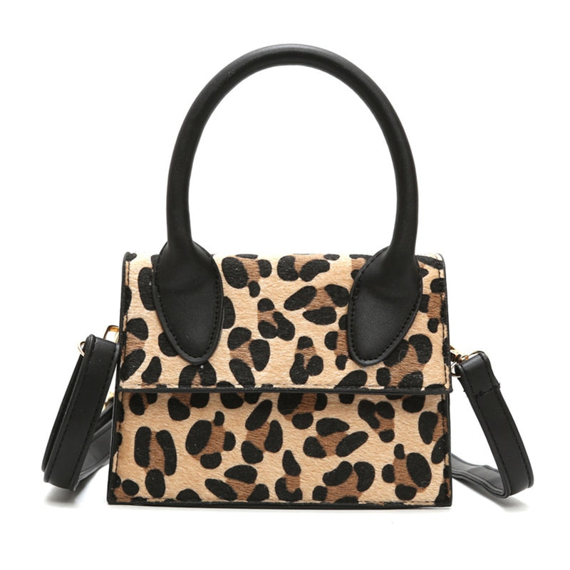 8c623f617985 Winter Plush Leopard Top-handle Handbags Women Plaid Pu Leather Small Flap Shoulder  Messenger Bags