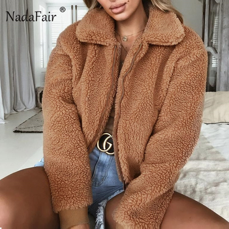 Nadafair plus size fleece faux fur teddy coats women winter thick zipper fur jacket coat female warm plush overcoat streetwear