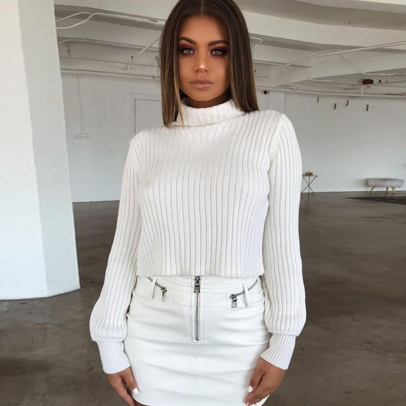 ZHYMIHRET 2018 Autumn Ribbed Sweater For Women Turtleneck Long Lantern Sleeve Crop Tops Female Pullover Pull Femme