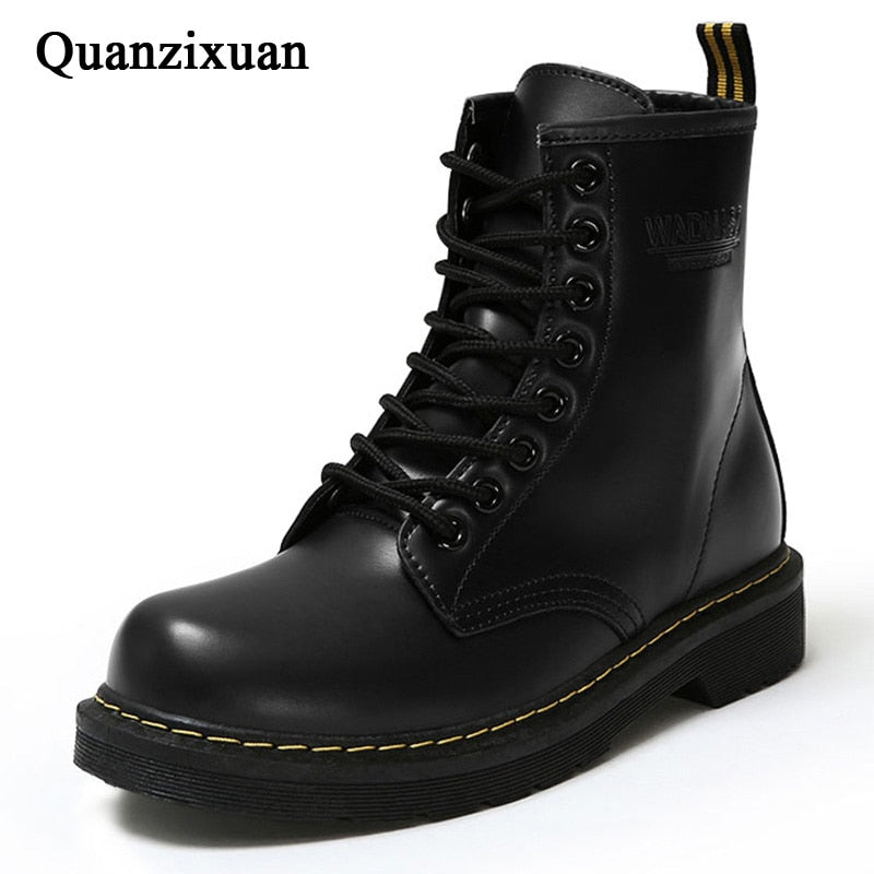 Winter Ankle Boots Pu Leather Women Boots for Martin Boots Women Work Shoes Black Round Toe Lace-Up Women Shoes Female Boots