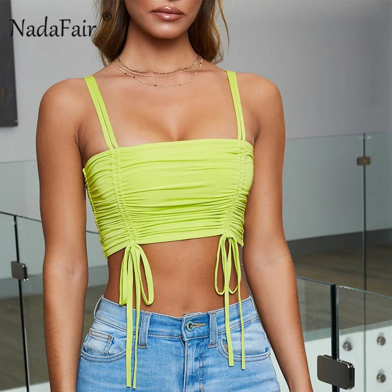 2d499dd35181 summer bandage sexy crop tops women lace up ruched camis female sleeveless  bodycon cropped tops women