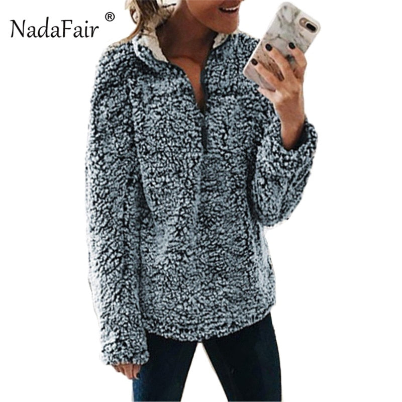 Nadafair winter turtleneck faux fur hoodies women autumn warm thick fur sweatshirts female zipper causal plush pullovers tops