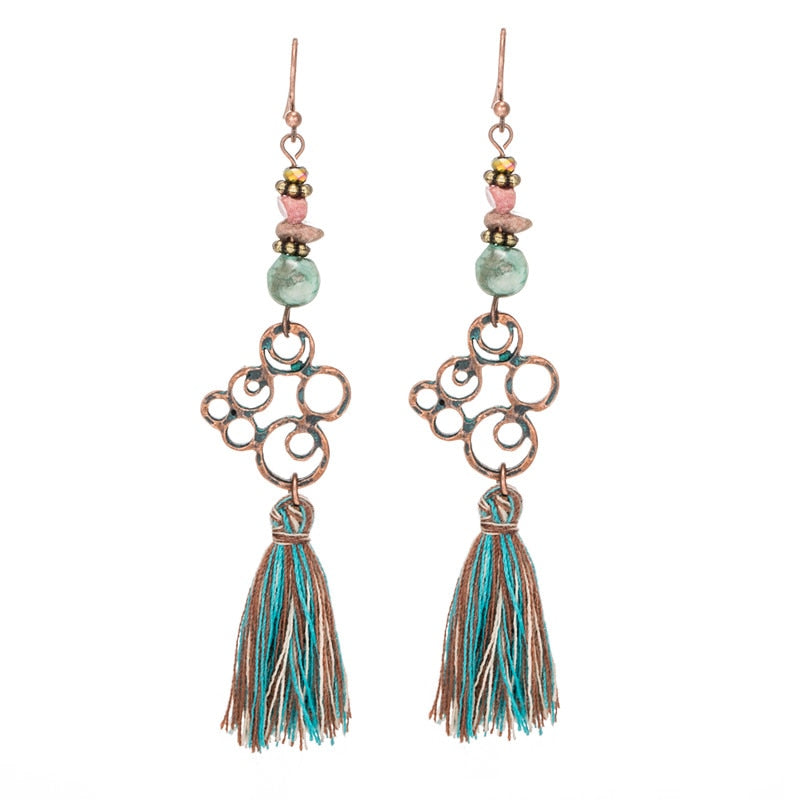 Fashion Boho Long tassel earrings Antique Vintage Ethnic Bohemian Green fringed earring for women Stones Geometric jewelry 2019