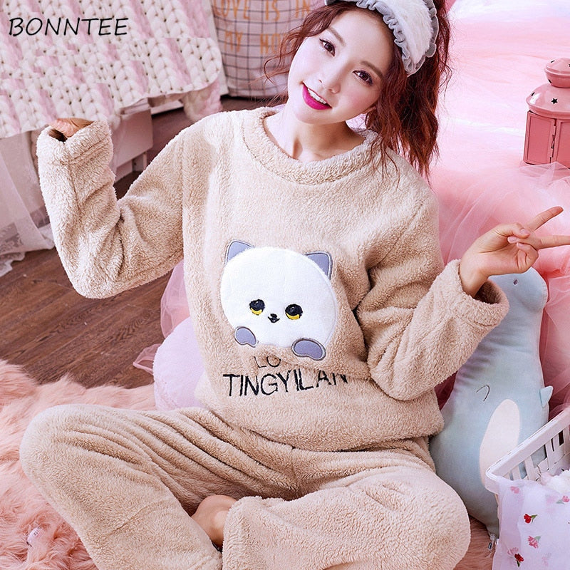 Pajama Sets Winter Women Thick Warm Coral Velvet Sleepwear Suit Flannel Long Sleeve Loose Students Lovely Womens Pajamas Kawaii