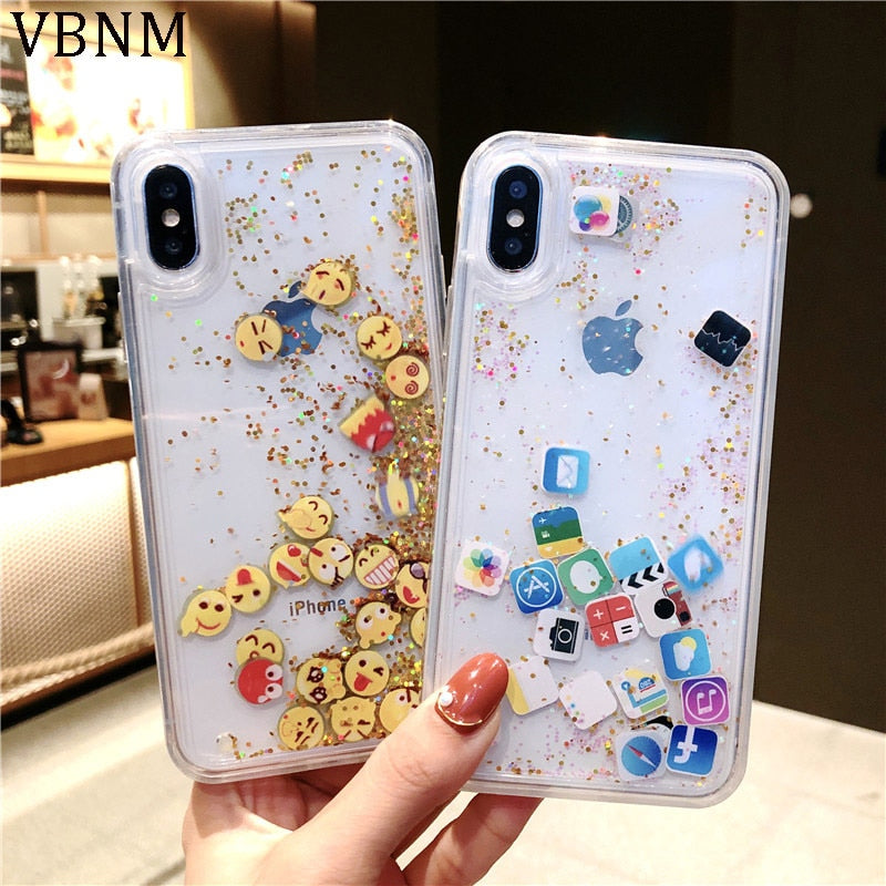 Fashion Apps Icon Emoji Dynamic Liquid Glitter Quicksand Case for iPhone 6 6S 7 8 Plus Hard Cover For iPhone X XR XS Max Fundas