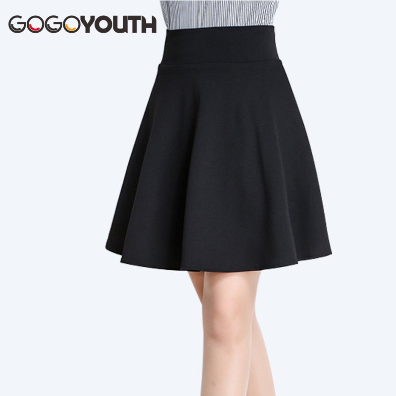 Gogoyouth Plus Size Pleated Skirts Womens 2019 Summer High Waist Midi Shorts Skirt Female Red Black Ladies Office Skirt Femme